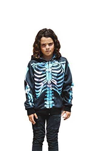 Pop Stitch Youth Unisex Cosmic Skeleton Hoodie Fashion Long Sleeve Hooded Pullover Pockets Zip Front Sweatshirt (XLarge)