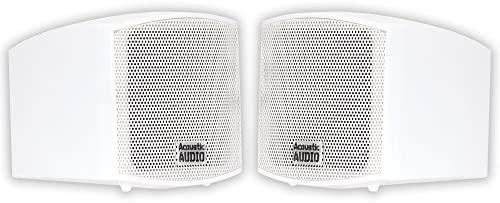 Acoustic Audio AA321W Mountable Indoor Audio system 400 Watts White Bookshelf Pair