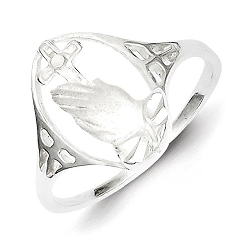 925 Sterling Silver Polished Praying Hand Cross Ring Size 8