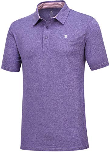 MoFiz Men's Athletic Sport Tee Summer Dry Fit Stretch Polo Golf Shirt Solid Color T-Shirt (XL,Purple)