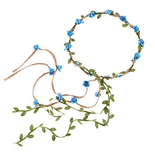 DDazzling Flower Crown Floral Wreath Headband Floral Garland Headbands photo props (Blue)