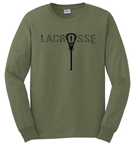 ft Lacrosse Word Collage Lacrosse Fan Gift Long Sleeve T-Shirt Large MlGrn ()