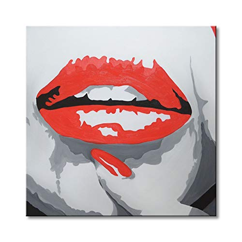 Red Lips Modern Pop Wall Art Hand Painted Abstract Oil Painting on Canvas Contemporary Decor Artwork