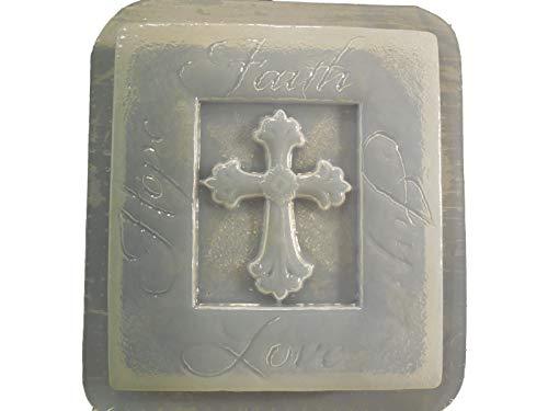 (Hope Faith Joy Love Stone Look Plaque Concrete or Plaster Mold 7249)