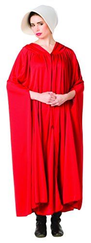 Handmaid's Cloak, Red with White Wide Brim Bonnet, Adult Size -