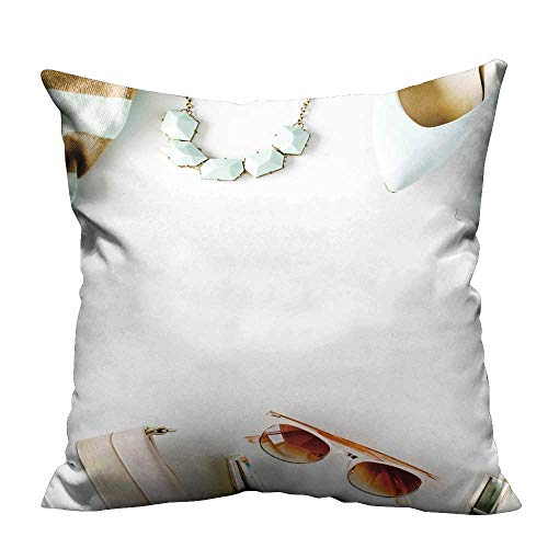 Zippered Pillow Covers Flat Lay feminini Clothes Accessories Collage cardig Trousers Textile Crafts 31.5x31.5 inch(Double-Sided Printing) ()