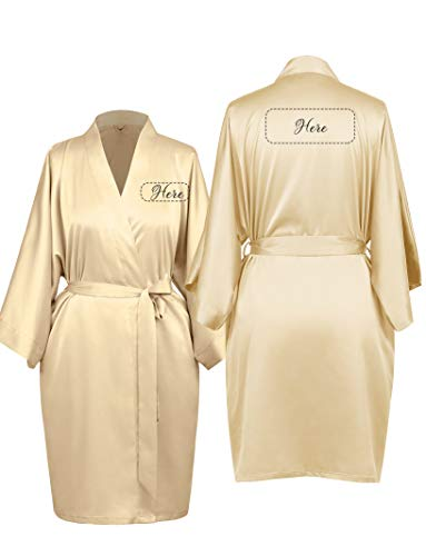 AW Personalized Satin Bridesmaid Robes Short Bridal Robes for Wedding Party Gifts Custom Monogrammed, Plus Size, Champagne, XL