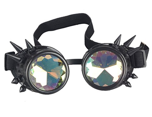 FUT ABS Rainbow Spiked Steampunk Goggles Kaleidoscope Rave Lenses Cyber Welding Goth Cosplay Vintage - Goth Glasses