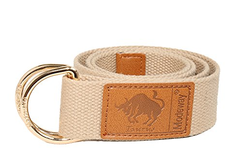 Modeway Womens Mens Star Sign Canvas Web Double D-Ring Leather Gold Buckle (Ladie D-ring Belt)