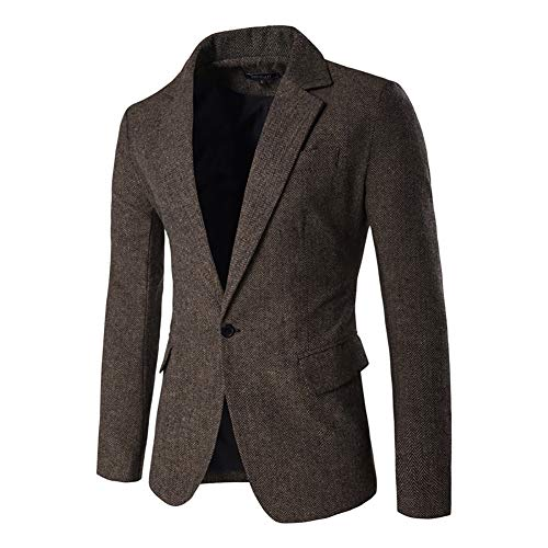 Men's Blazer Jacket Herringbone Sport Coat Smart Formal Dinner Cotton Suits Slim Fit One Button Notch Lapel Coat Brown