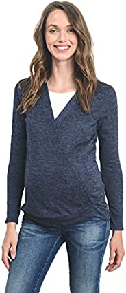 HelloMiz Women's Sweater Knit Surplice Long Sleeve Maternity Nursing
