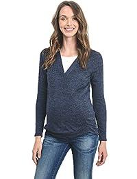 HelloMiz Women's Sweater Knit Surplice Long Sleeve Maternity Nursing Top