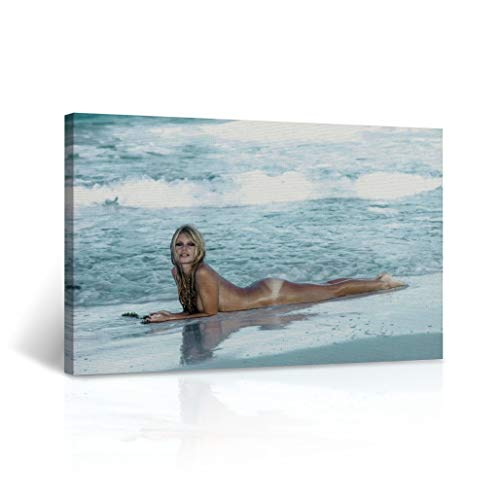 Buy4Wall Young and Naked Sexy Brigitte Bardot on The Beach Colored Nude Photography Wall Art Icon Art Canvas Print Home Decor Wrapped and Stretched - Ready to Hang -%100 Handmade in The USA - 8x12