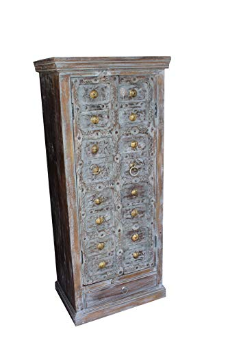Mogul Interior Antique Indian Teak Cabinet Reclaimed Wood Vintage Brass Rustic ()
