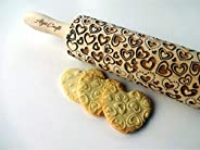 HEARTS Embossing Rolling pin. Laser cut embossed dough roller with lovely herats. Embossed cookies. Pottery. B