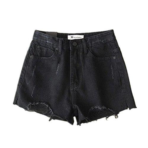 vita pantaloni Sexy da Mini jeans sfoggiato Oudan in alta Pantaloncini Nero donna a chic vwYqxw1HU8