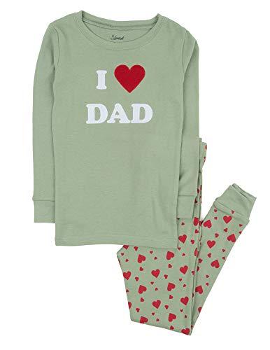 Leveret Kids Pajamas Boys Girls 2 Piece pjs Set 100% Cotton (I Love Dad, Size 6 Years) ()
