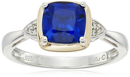 sg-sterling-silver-and-14k-yellow-gold-cushion-created-sapphire-with-diamond-accent-ring-size-7