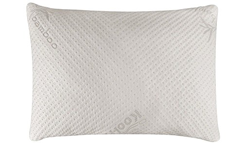 Snuggle-Pedic Ultra-Luxury Bamboo Shredded Memory Foam Pillow Combination With Adjustable Fit and Zipper Removable Kool-Flow Breathable Cooling Hypoallergenic Pillow Cover (Queen) (Pillow)