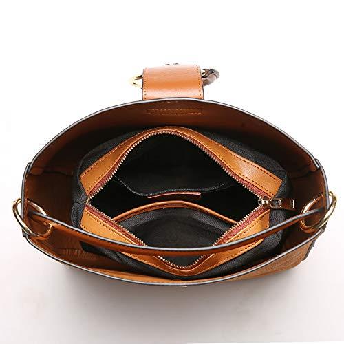 cuir Caramel en en unique femmes grande PU à bandoulière Sac Sac quatre intégré couleurs à à main pour Sac main souple capacité capacité à main grande de option nfqpwZt