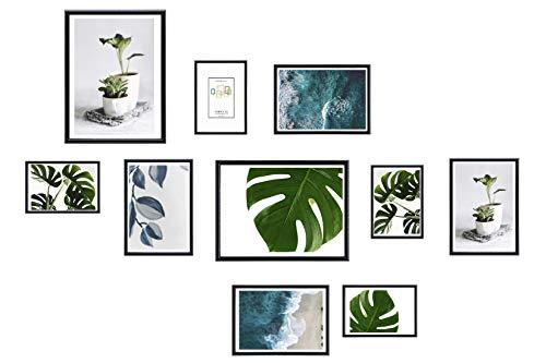 Chely Intermarket, Marcos multifotos Pared (Negro) Set de 10 Marcos Mod-312 (13x18(x4)-15x20cm(x4)-20x25cm(x2)) Portafotos de PVC con Cristal Vidrio