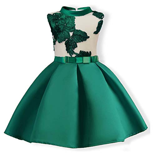 AYOMIS Flower Girl Pageant Dress Kids Party Embroidery Wedding Dresses 2-9 Years(Green,8-9Y) -