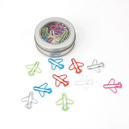 Random Colors JANOU Cute Airplane Shape Paper Clips Multicolor Card File Clips Clamps for Bookmark Office School Notebook Decoration Pack 24pcs NA
