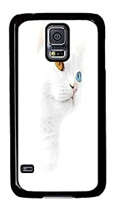 DIY Samsung Galaxy S5 case Best Animal White Cat With Blue And Yellow Eyes PC Black Custom Samsung Galaxy S5 Case Cover wangjiang maoyi