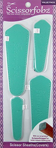 Scissors by SCISSORFOBZ with ScissorGripper -Value Pack-4 Sizes- Designer Scissor sheaths Covers Holders for Embroidery Sewing Quilting - Quilters sewers Gift - Sea Green(Light Turq). #07