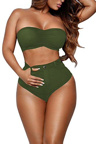 Pink Queen Women's Bandeau Thong High Waist Bikini Set Swimming Suit Army Green L Queen Bandeau