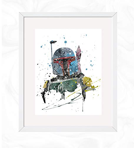 Boba Fett Prints, Star Wars Watercolor, Nursery Wall Poster, Holiday Gift, Kids and Children Artworks, Digital Illustration Art