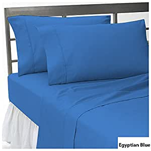 """Solid Pattern Super Soft 600 Thread Count 3 Piece Fitted Sheet Twin XL Size with 15"""" deep pocket in New Egyptian Blue color [ 100% Egyptian Cotton ]"""
