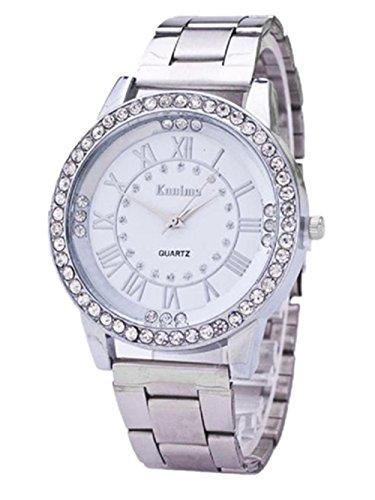 Laimeng, Women's Men's Crystal Rhinestone Stainless Steel Analog Quartz Wrist Watch (Silver)