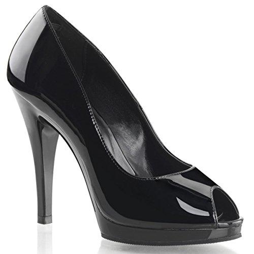 Summitfashions Womens Glossy Black Peep Toe Pumps Shoes with 4.5'' Heels and .5'' Platform Size: 7 - 1/2' Platform Shoe