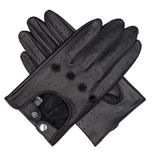 - Harssidanzar Mens Lambskin Leather Driving Gloves Unlined Touchscreen, Black, M