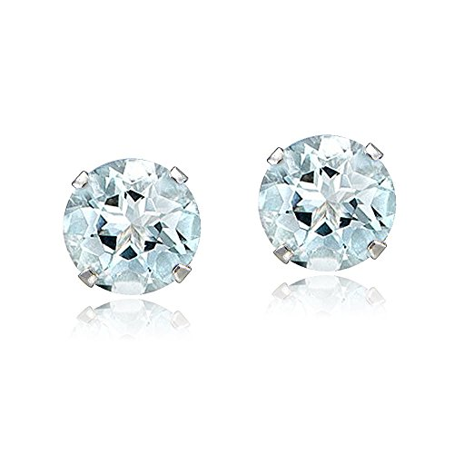 Bria Lou 14k White Gold Natural Aquamarine Gemstone 5mm Round-Cut Solitaire Stud Earrings (1.00ct TGW)