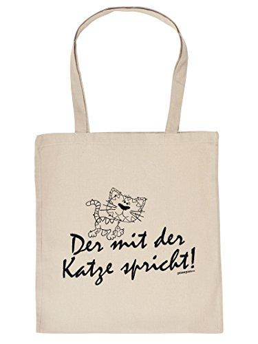 Mega schöne Einkaufstasche Baumwolltasche Tragetasche für Katzenliebhaber - Der mit der Katze spricht! Tasche Katze Katzenbesitzer