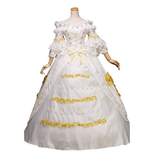 1791's lady Women's Masquerade Ball Gown Princess White Wedding Dress L by 1791's lady