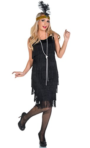 Elevate Costumes Long Black Deluxe Miss Millie 1920's Flapper Costume (Flapper Deluxe Gold & Black Headband)
