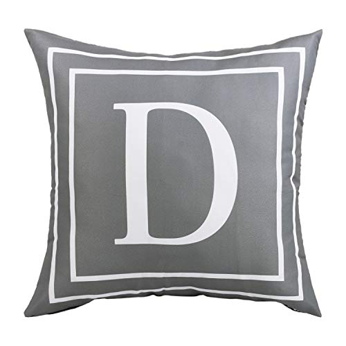 BLEUM CADE Gray Pillow Cover English Alphabet D Throw Pillow Case Modern Cushion Cover Square Pillowcase Decoration for Sofa Bed Chair Car 18 x 18 Inch