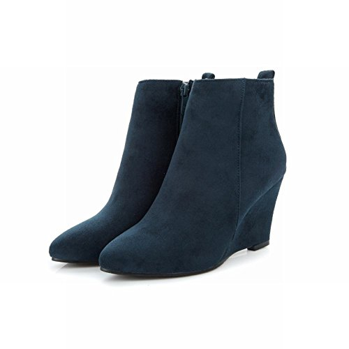 Latasa Mujeres Faux Suede Pointed Toe Tacones Altos Botas Cortas Cuñas Azul Oscuro