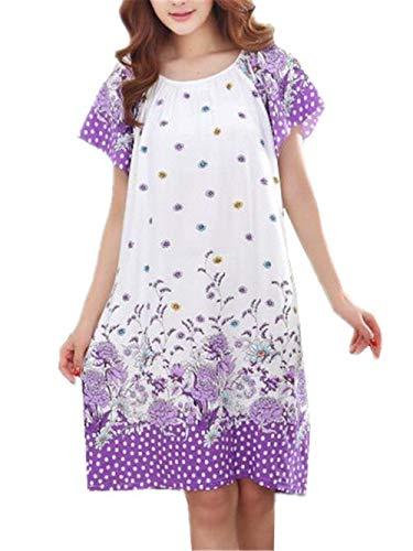 Chemises De Chemise Nuit Vêtements Floral Pour Décontracté Femmes Casual À Purple Pyjama Battercake Manches Robe D'été Courtes Dame Imprimé Femme vNwO8mn0