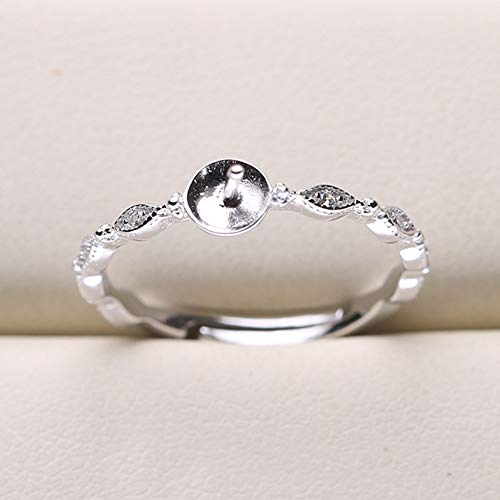 HENGSHENG 3 PCS Pearl Ring Fitting Rhinestone Ring Settings 925 Sterling Silver Adjustable Ring Mounting Jewelry Making Kit(DO NOT Include Pearls)
