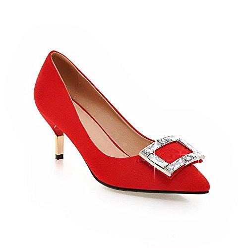 AgooLar Damen Eingelegt Mattglasbirne Mittler Absatz Spitz Zehe Pumps Schuhe, Rot, 42