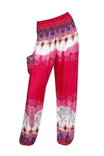 Pantalones harén–ALADDIN pantalones de Hippie con 18Diferentes diseños Elegant Elephant Pink