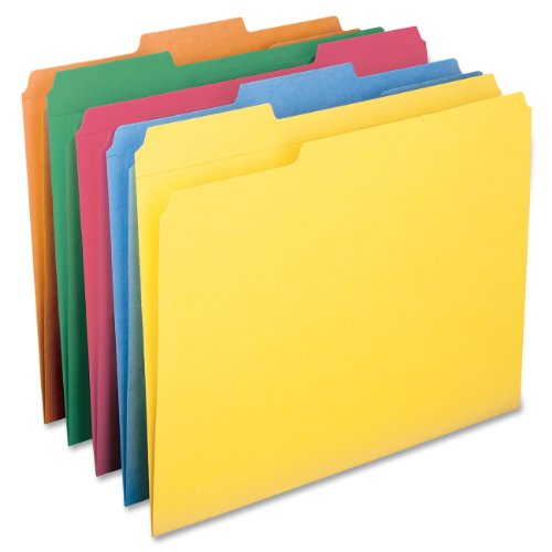 Colored File Folder - Smead File Folder, Reinforced 1/3-Cut Tab, Letter Size, Assorted Colors, 100 per Box (11993)