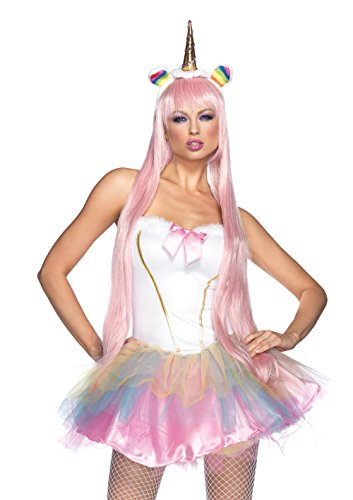 Leg Avenue Women's 2 Piece Fantasy Unicorn Costume with LED Light-up Horn Headband, White, (Sexy Fairy Costume)