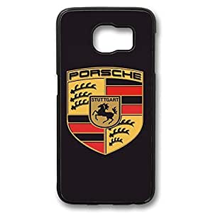 S6 Case, Galaxy S6 Case, Personalized Top-Quality Water Resistent Case for Galaxy S6 Porsche Logo Customized Black Hard Case for Samsung Galaxy S6