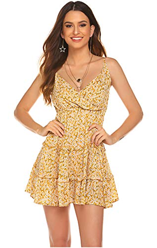 Back Sundress - POGTMM Women Adjustable Strappy Mini Dress Stretchy Waist Ruffles Hem Cami Open Back Dress Sundress(Yellow,M)