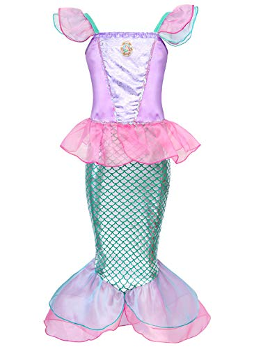 HenzWorld Little Mermaid Ariel Costume Dress Girls Birthday Party Cosplay Outfit